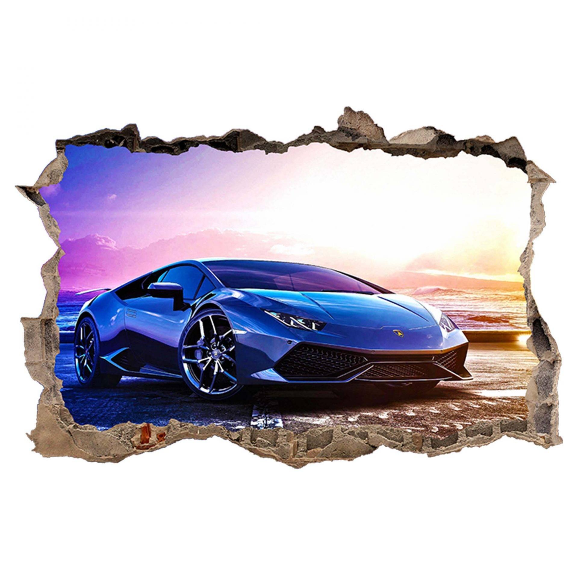 Lamborghini Aventador 3D Torn Hole Ripped Wall Sticker Decal Art Race Car WT237