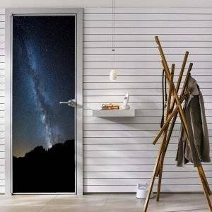 The Milky Way in The Space Door Decal Laminated Self Adhesive Sticker Art Mural