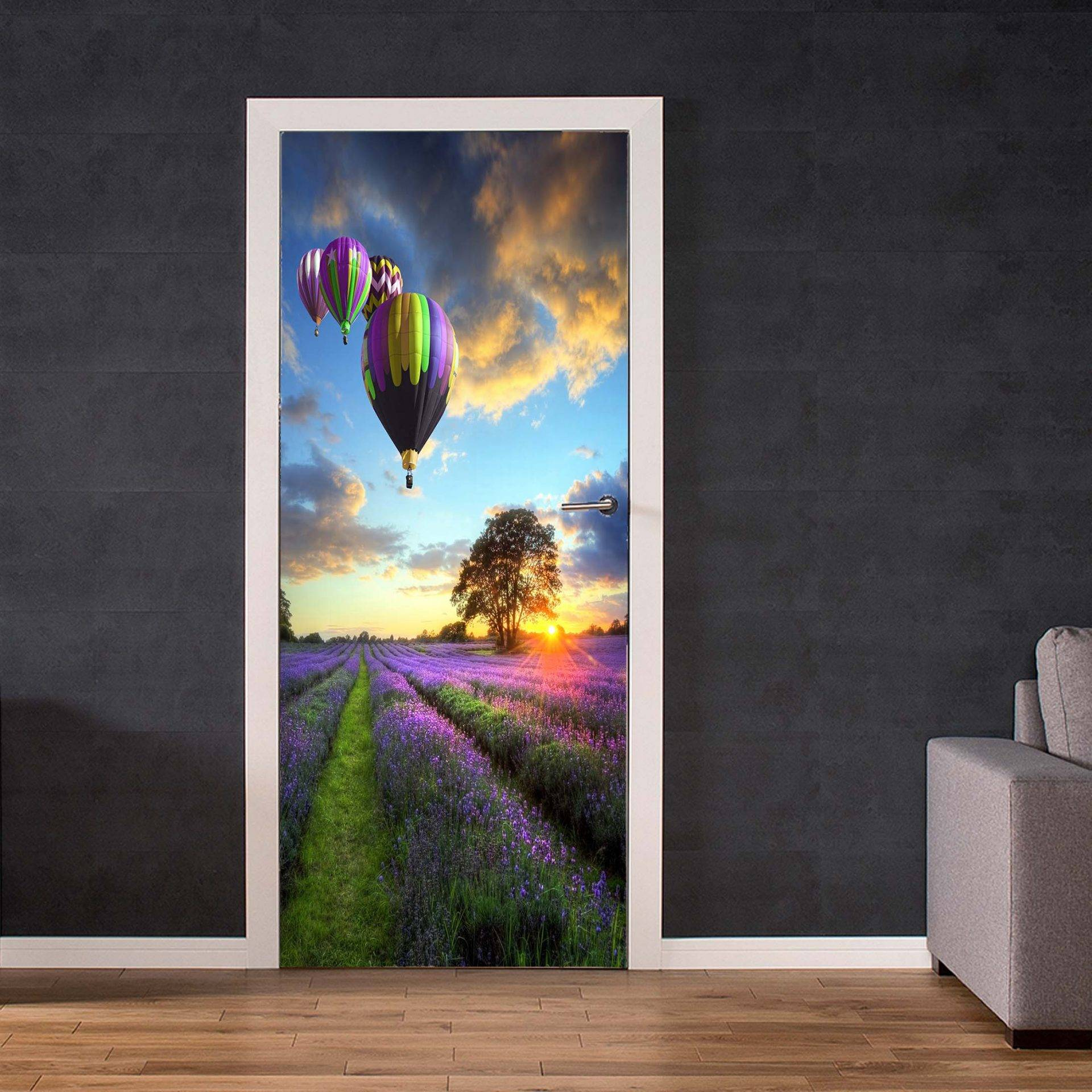 Balloons and Lavender Fields Door Decal Laminated Self Adhesive Sticker Art Mural