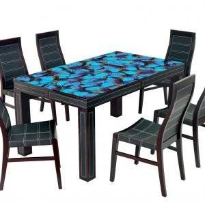 Blue Butterflies Laminated Vinyl Cover Self-Adhesive for Desk and Tables