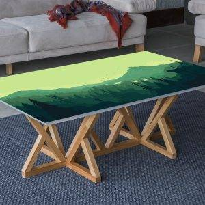 Mountain Forest View Laminated Vinyl Cover Self-Adhesive for Desk and Tables