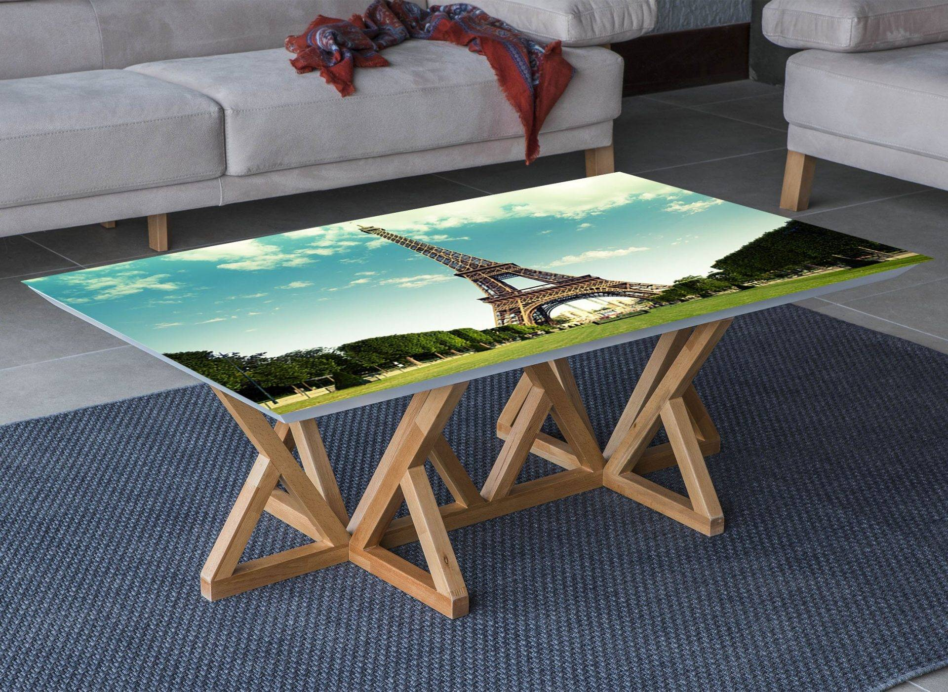 Eiffel Tower View Laminated Vinyl Cover Self-Adhesive for Desk and Tables