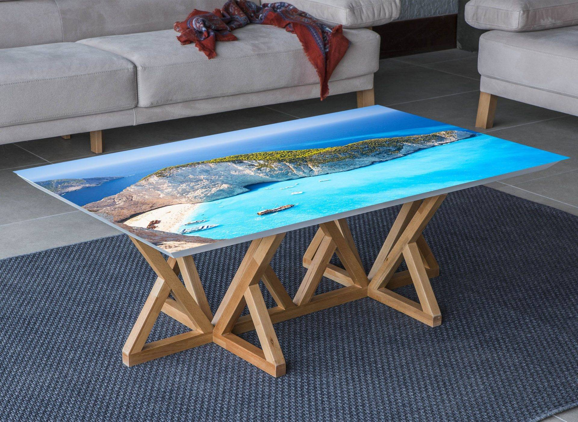 Ocean Island View Laminated Vinyl Cover Self-Adhesive for Desk and Tables