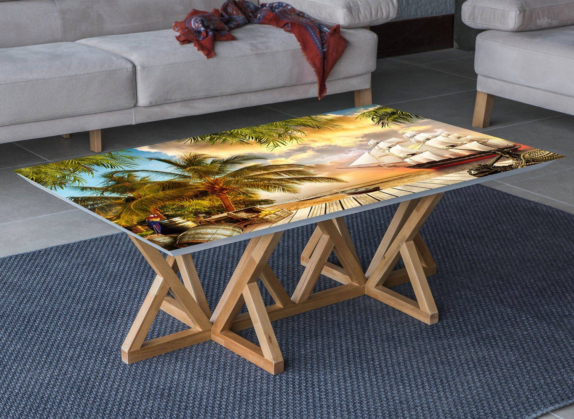 Pirates Palm Beach View Laminated Vinyl Cover Self-Adhesive for Desk and Tables