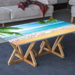 Beach Ocean Summer View Laminated Vinyl Cover Self-Adhesive for Desk and Tables