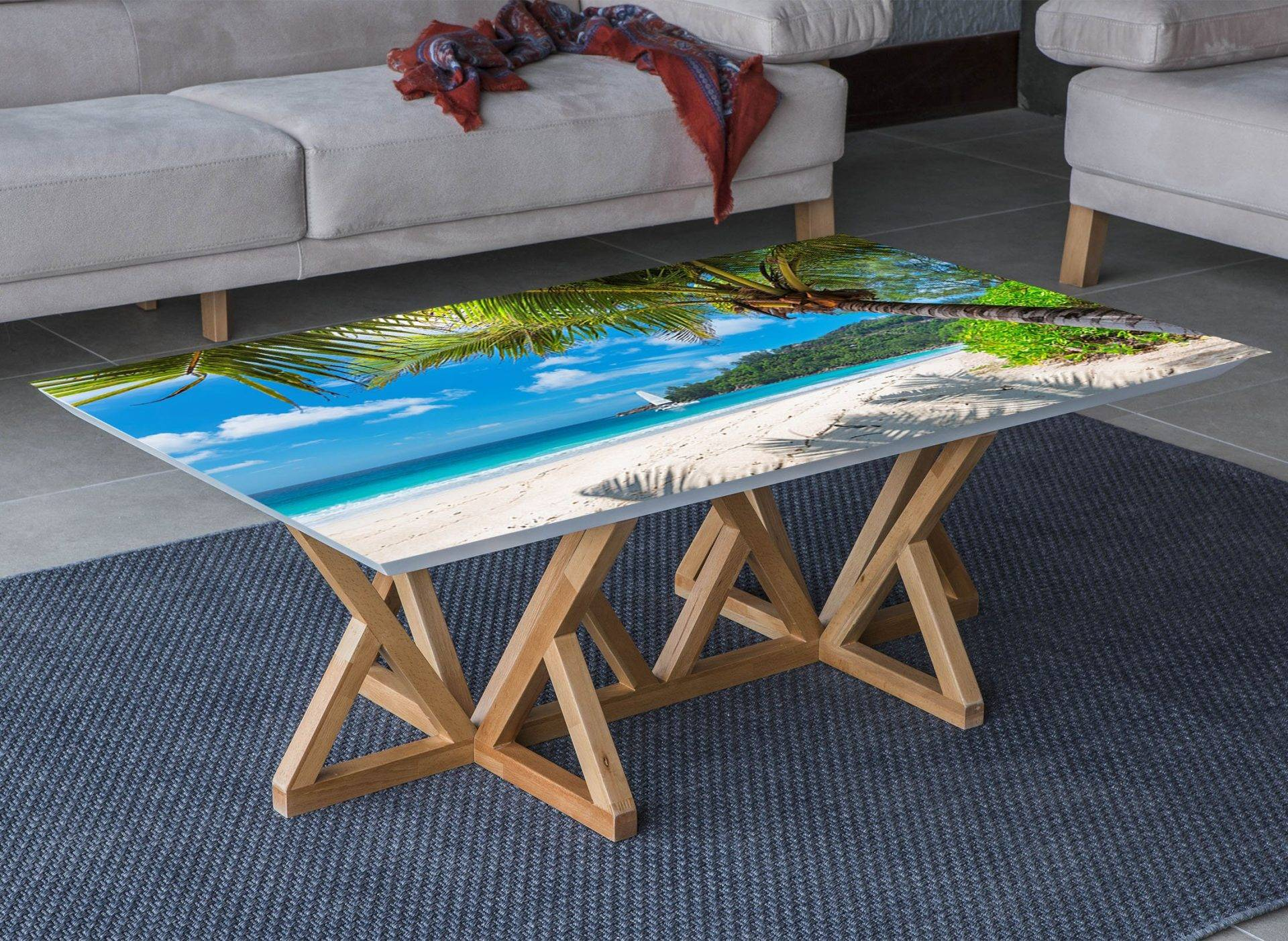 Summer Beach Vacation Laminated Vinyl Cover Self-Adhesive for Desk and Tables