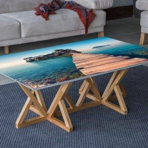 Island Ocean Bridge Laminated Vinyl Cover Self-Adhesive for Desk and Tables
