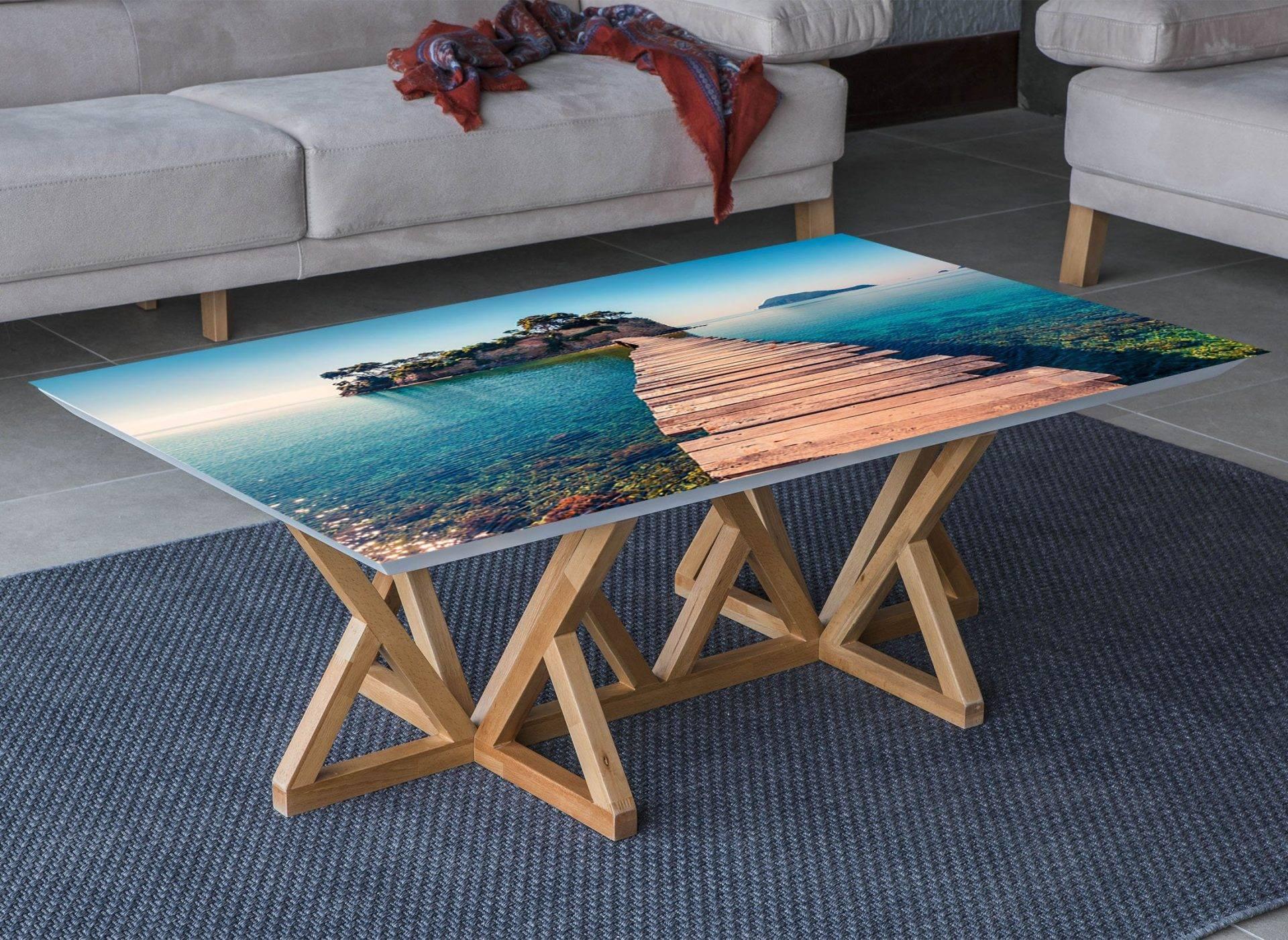 Island Ocean Bridge Laminated Vinyl Cover Self-Adhesive for Desk and Tables