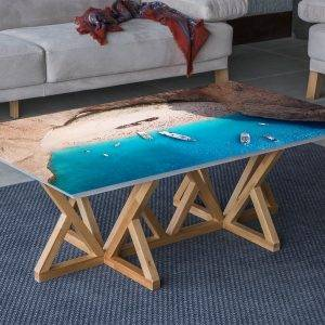 Beach Bay with Ships Laminated Vinyl Cover Self-Adhesive for Desk and Tables