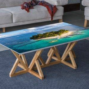 Boat Island Ocean Laminated Vinyl Cover Self-Adhesive for Desk and Tables