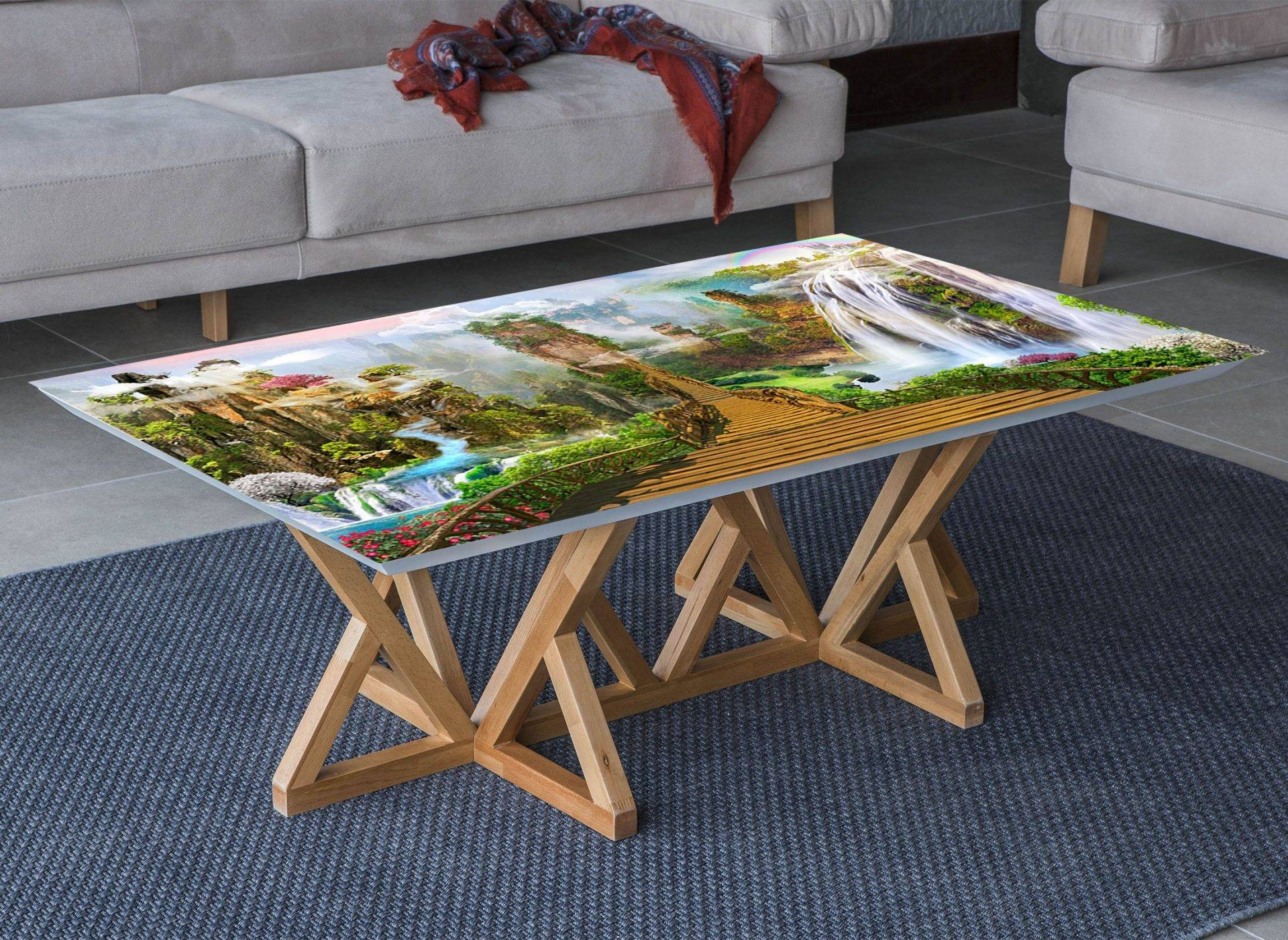 Mountain Bridge Landscape Laminated Vinyl Cover Self-Adhesive for Desk and Tables