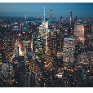 New York ​​at Night View Laminated Vinyl Cover Self-Adhesive for Desk and Tables