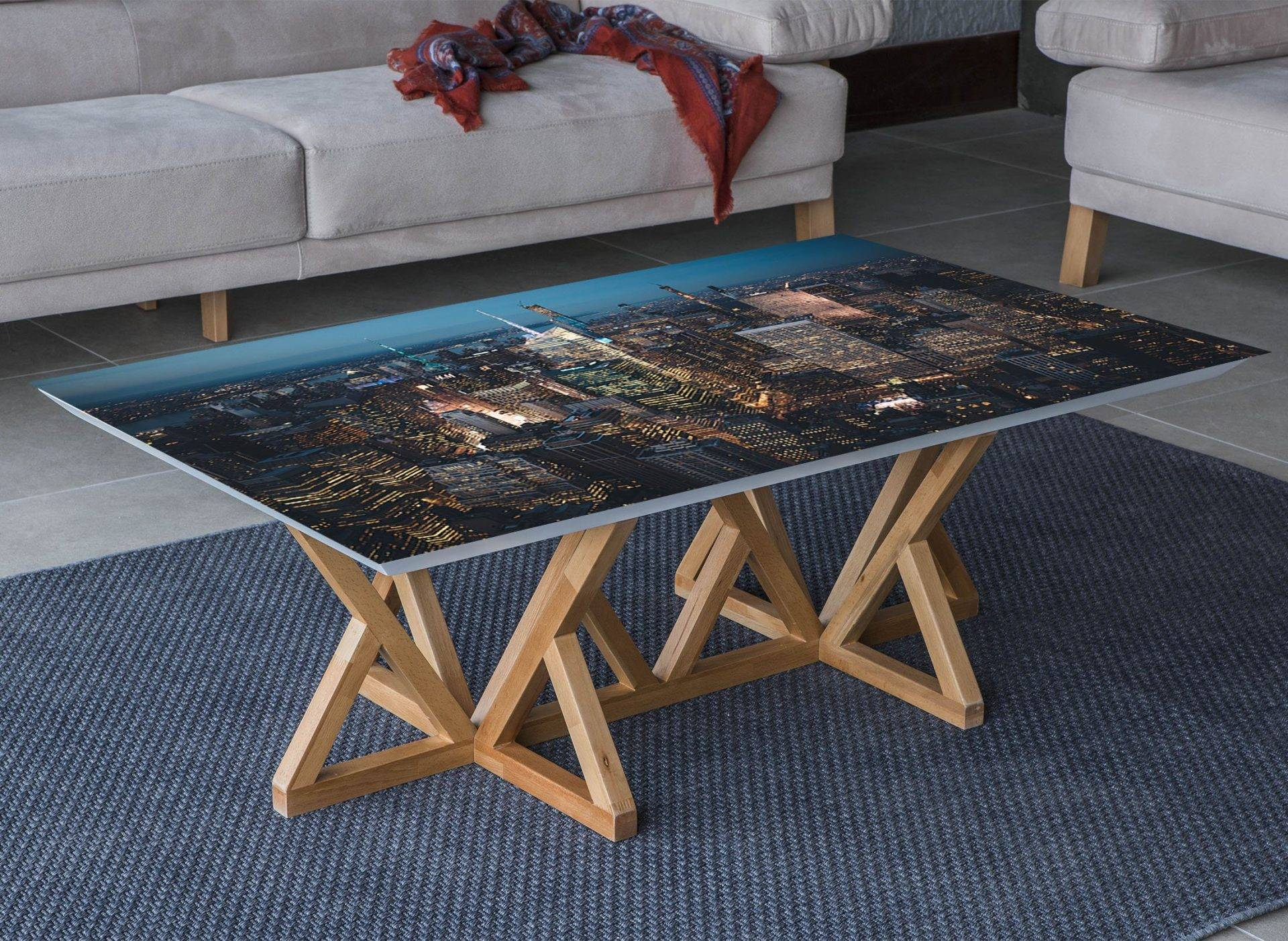 New York at Night View Laminated Vinyl Cover Self-Adhesive for Desk and Tables