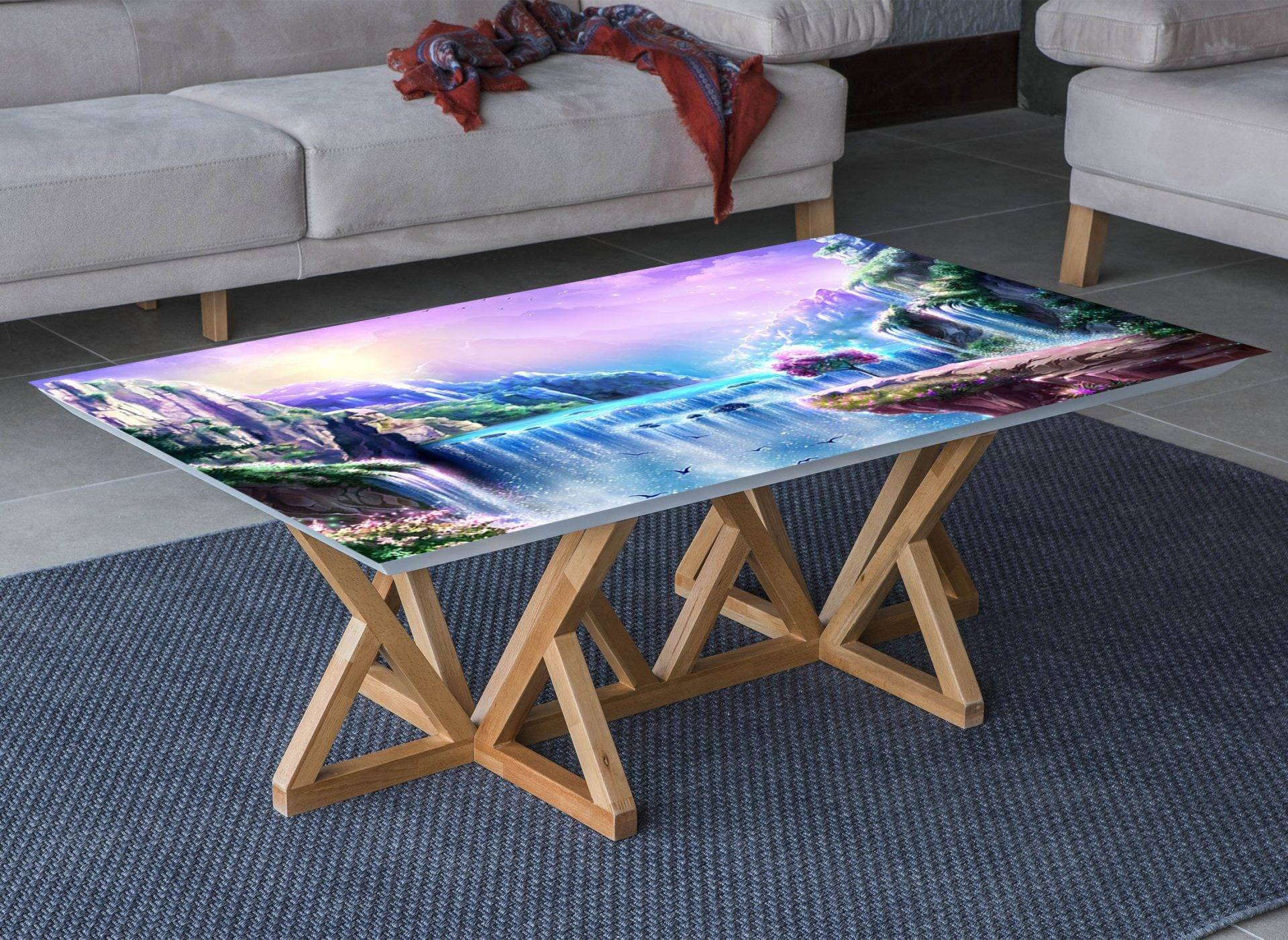 Magic Waterfall Mountain Laminated Vinyl Cover Self-Adhesive for Desk and Tables
