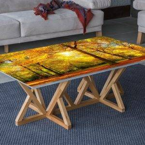 Autumn Tree Park View Laminated Vinyl Cover Self-Adhesive for Desk and Tables
