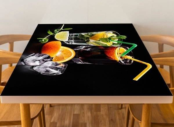 Lime Orange Drinks Laminated Vinyl Cover Self-Adhesive for Desk and Tables