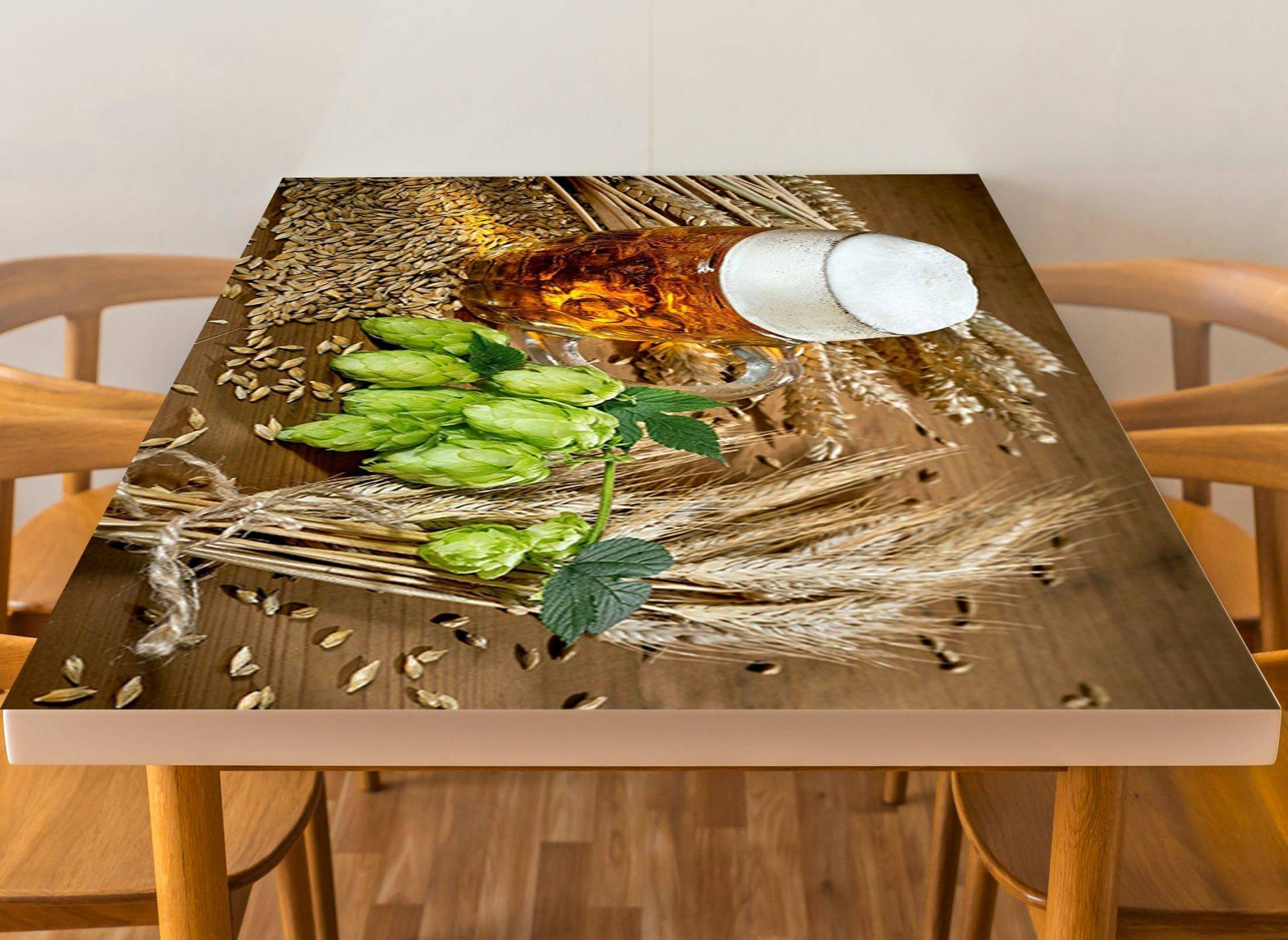 Hops Grain Beer Laminated Vinyl Cover Self-Adhesive for Desk and Tables