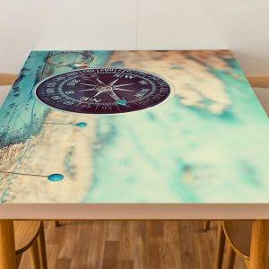 Compass and World Map Laminated Vinyl Cover Self-Adhesive for Desk and Tables