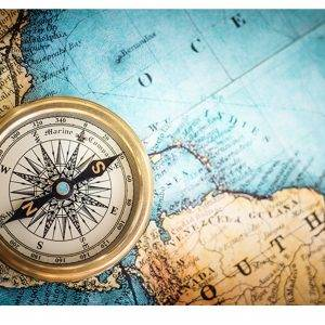 World Map Compass Laminated Vinyl Cover Self-Adhesive for Desk and Tables