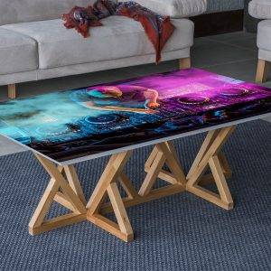 DJ in Front of Console Laminated Vinyl Cover Self-Adhesive for Desk and Tables