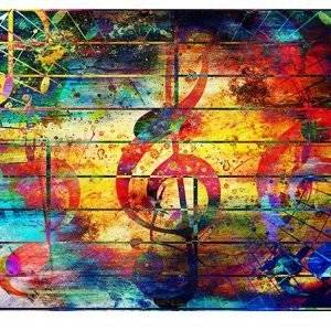 Music Musical Notes Laminated Vinyl Cover Self-Adhesive for Desk and Tables
