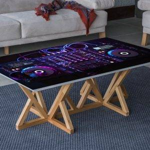 Console Music Party Laminated Vinyl Cover Self-Adhesive for Desk and Tables
