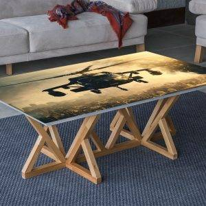 Helicopter over the City Laminated Vinyl Cover Self-Adhesive for Desk and Tables