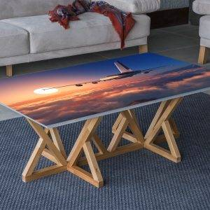 Plane above the Clouds Laminated Vinyl Cover Self-Adhesive for Desk and Tables