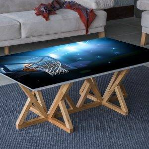 Basketball Basket Laminated Vinyl Cover Self-Adhesive for Desk and Tables