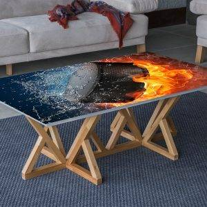 Hockey Puck Water & Fire Laminated Vinyl Cover Self-Adhesive for Desk and Tables