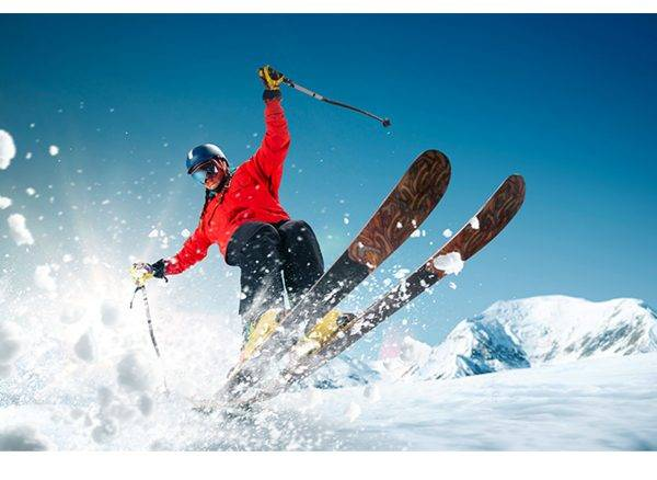 Skier Winter Mountains Laminated Vinyl Cover Self-Adhesive for Desk and Tables