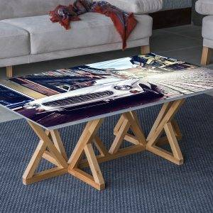 Vintage Car Old Town Laminated Vinyl Cover Self-Adhesive for Desk and Tables