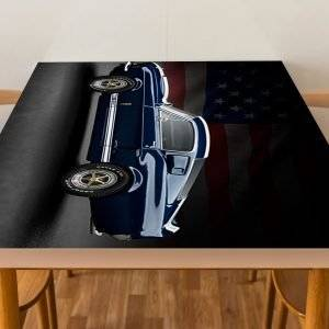 Mustang Blue Car Laminated Vinyl Cover Self-Adhesive for Desk and Tables