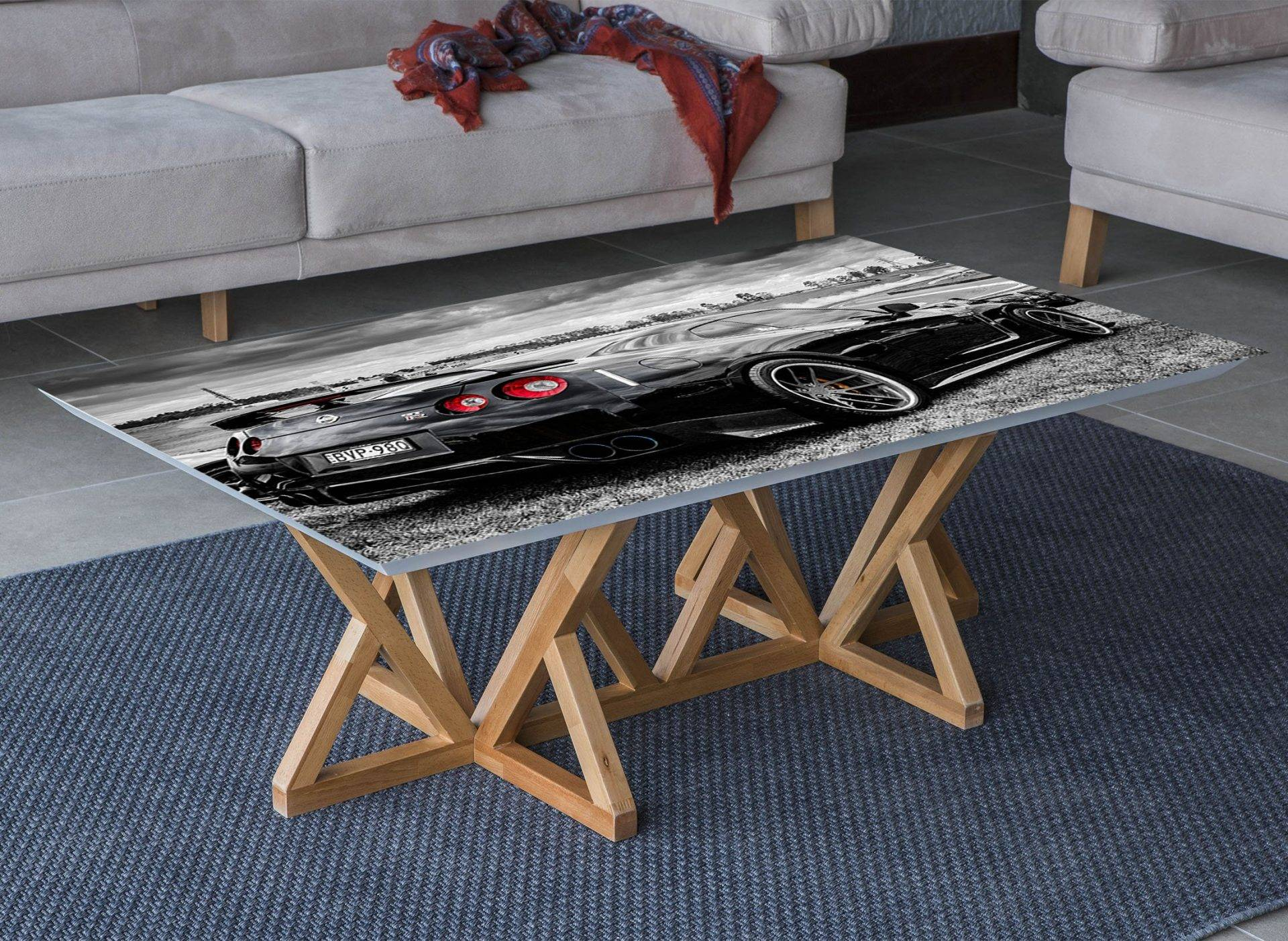 Nissan Skyline Black Laminated Vinyl Cover Self-Adhesive for Desk and Tables