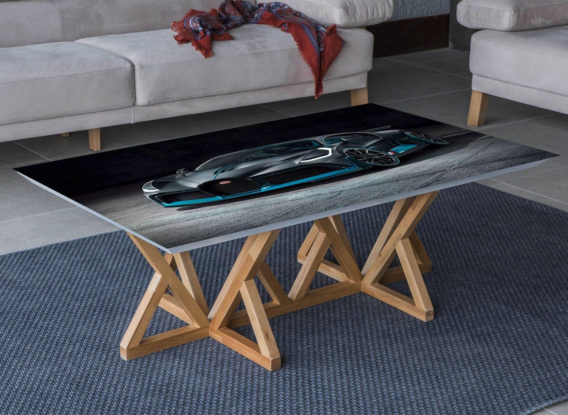 Bugatti Black Car Laminated Vinyl Cover Self-Adhesive for Desk and Tables