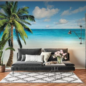 Relaxing Beach & Palma View Wall Mural Photo Wallpaper UV Print Decal Art Décor