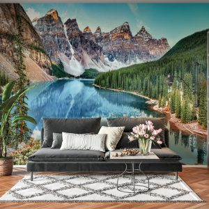 Amazing Moutain River View Wall Mural Photo Wallpaper UV Print Decal Art Décor