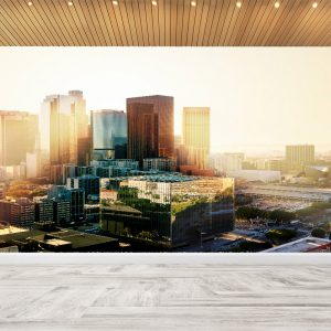 City Sunset Landscape Wall Mural