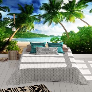 Amazing Green Palmas & Beach Wall Mural Photo Wallpaper UV Print Decal Art Décor