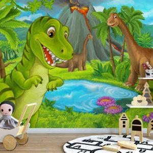 Dinosaurs & Lake Wall For Kids Mural