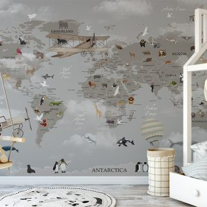 Grey World Map with Animals Wall Mural Photo Wallpaper UV Print Decal Art Décor