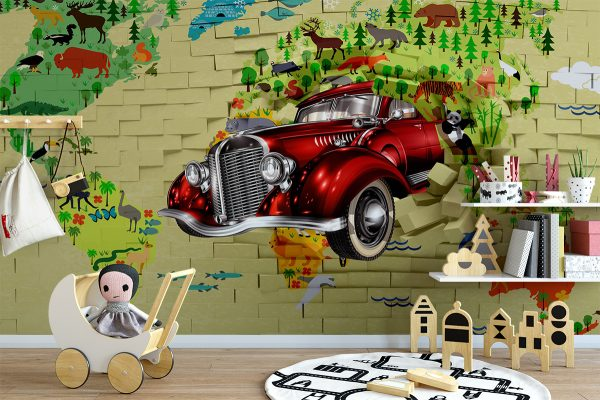Car Coming out of wall & Map Wall Mural