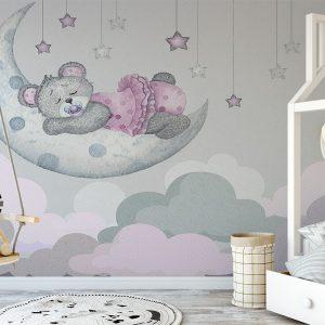 Lovely Teddy Bear & Moon Wall Mural