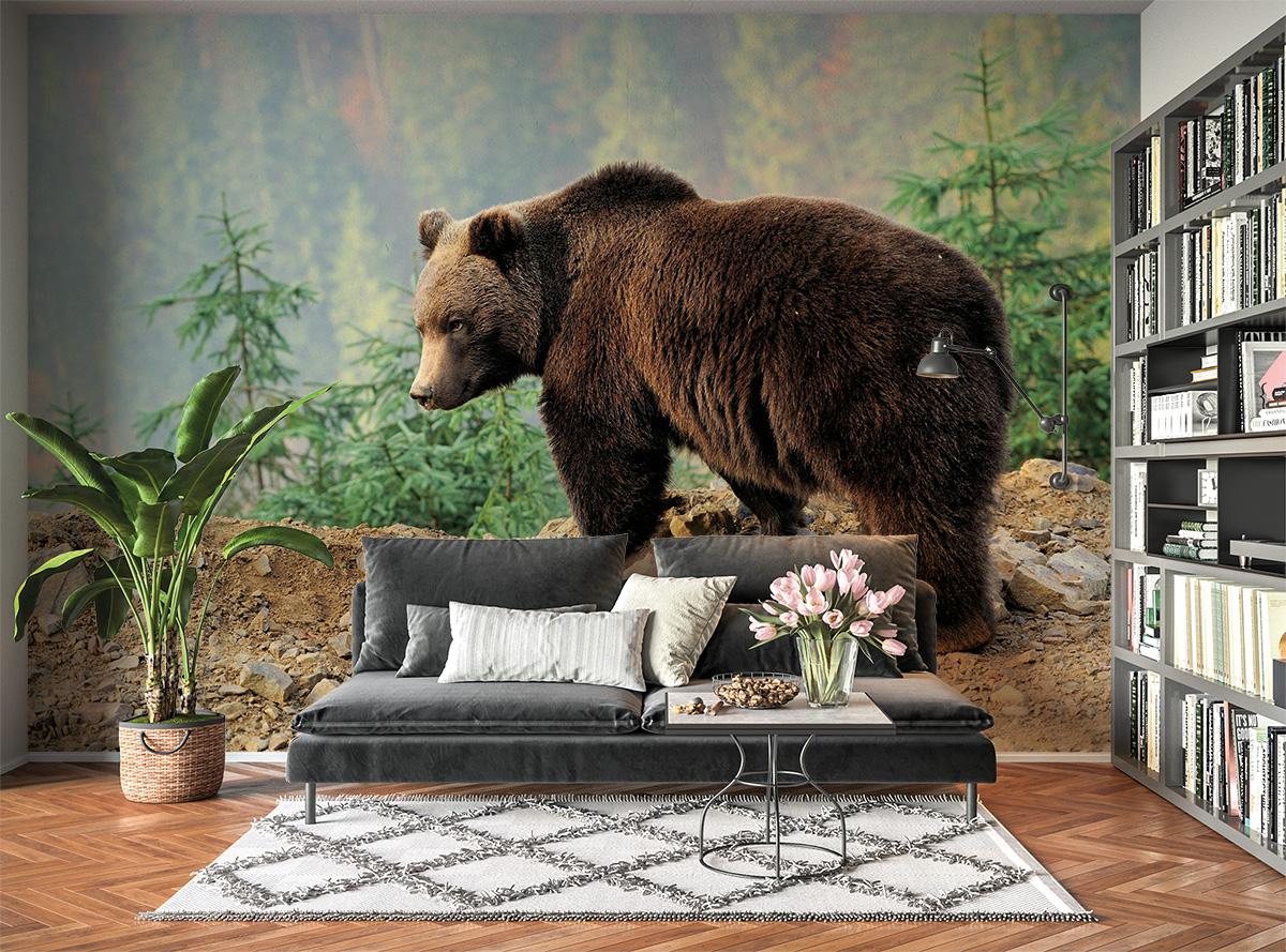 Brown Bear Nature View Wall Mural