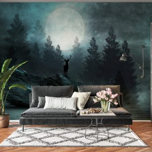Deer in Full Moon View Wall Mural