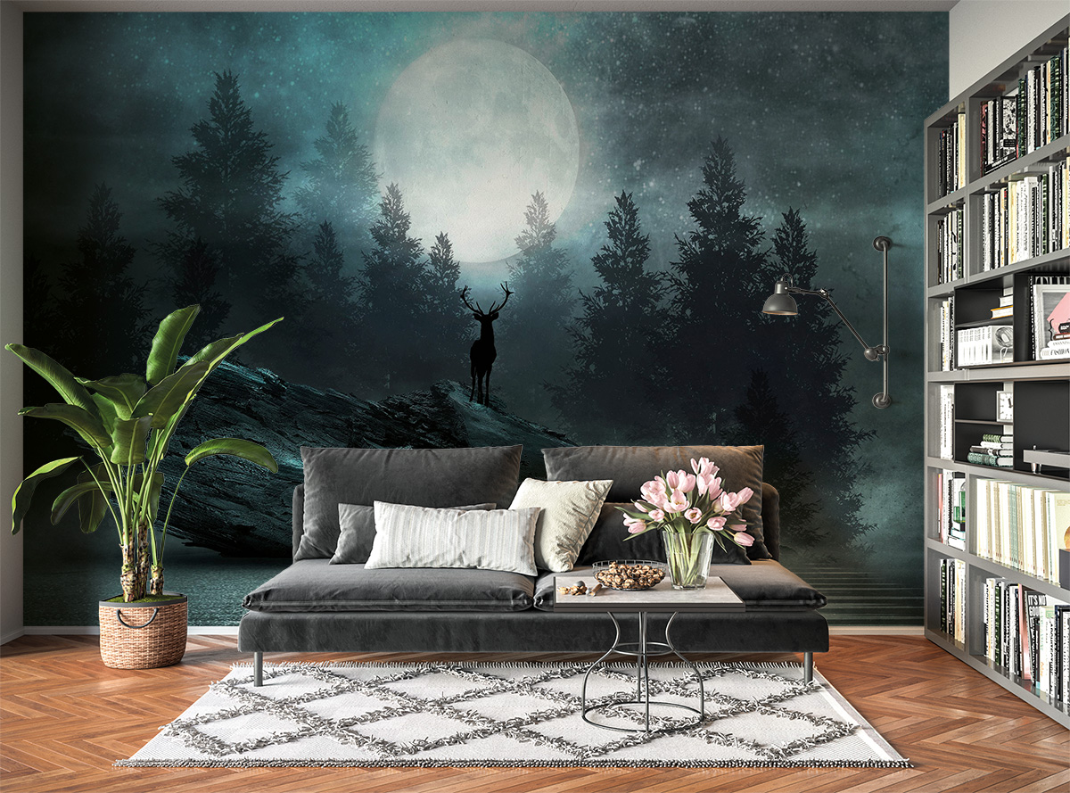 Deer in Full Moon View Wall Mural