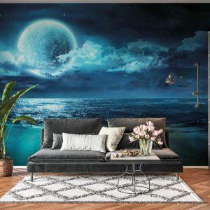 Blue Full Moon & Beach Wall Mural Photo Wallpaper UV Print Decal Art Décor