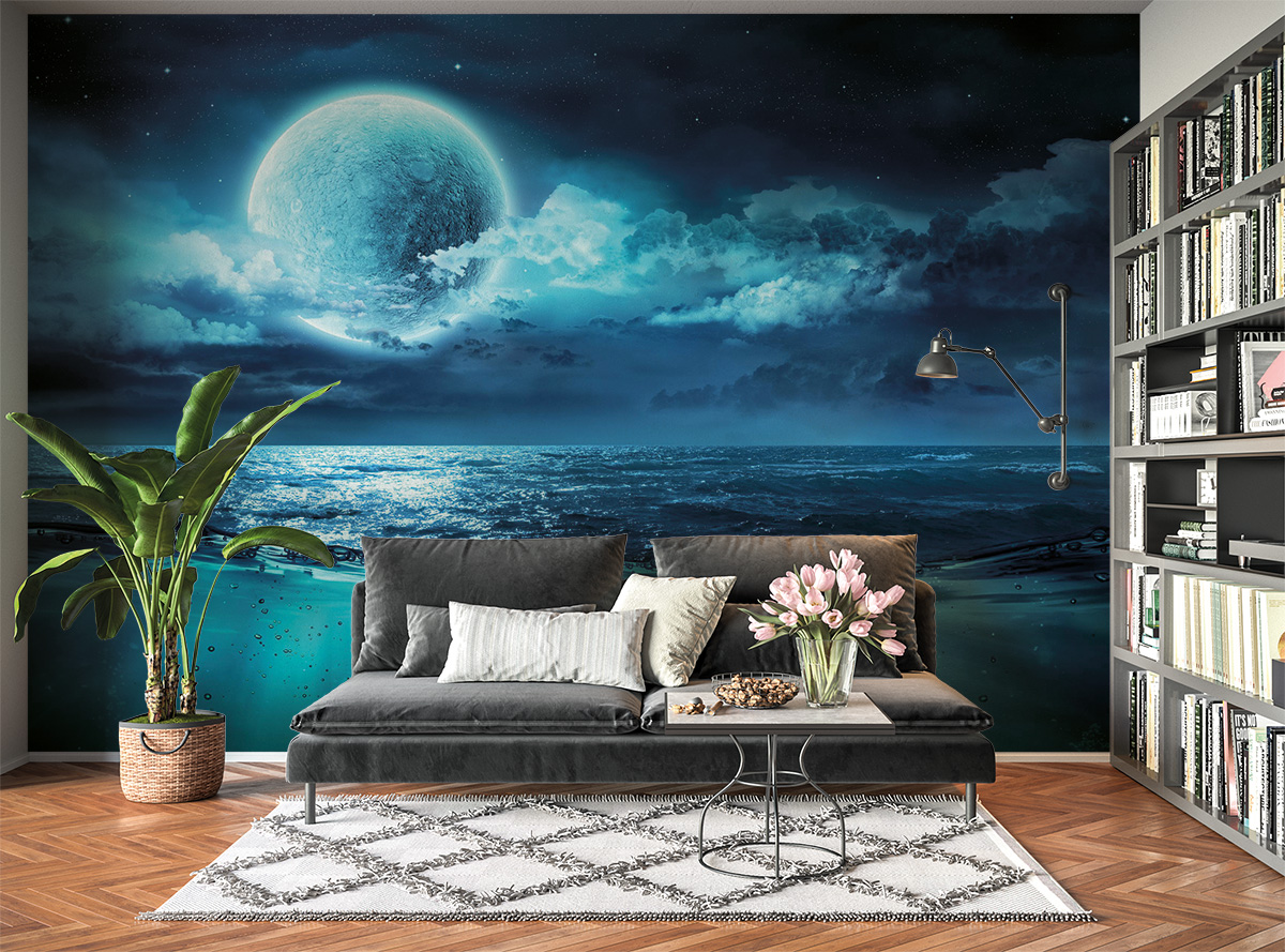 Blue Full Moon & Beach Wall Mural Photo Wallpaper UV Print Decal Art Décor