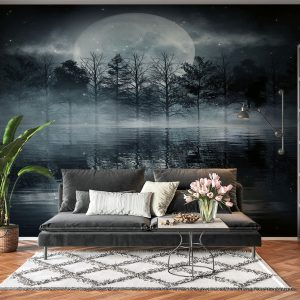 Dark Night Full Moon View Wall Mural Photo Wallpaper UV Print Decal Art Décor