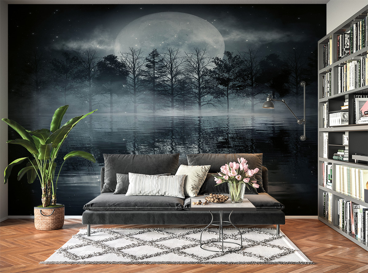 Dark Night Full Moon View Wall Mural Photo Wallpaper UV Print Decal Art Décor